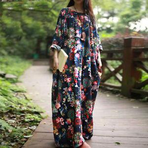 ZANZEA-AU-8-24-Women-Vintage-Boho-Print-Baggy-Maxi-Kaftan-Plus-Size-Floral-Dress