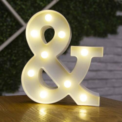 LED Light Up Alphabet Letter Lights White Letters Standing Hanging Sign Decor E