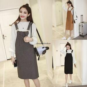 c3643e93b3 Details about Korean Women Casual Loose Knit Slim Suspender Strap Overall  Jumper Shift Dress