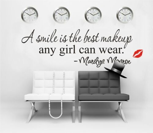 Smile-Makeup-Marilyn-Monroe-Quote-Vinyl-Art-Mural-Home-Decor-Decal-Wall-Stickers