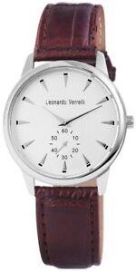 Leonardo-Verrelli-Damenuhr-Herrenuhr-Silber-Braun-Chrono-Look-Quarz-X2910003005