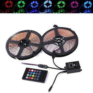 10M-3528-RGB-600-LED-Strip-Flexible-Light-12V-20key-Music-IR-Remote-Controller