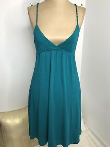 Kimchi-Blu-Womens-Dress-Empire-Waist-V-Neck-Casual-Green-Sundress-Size-XS