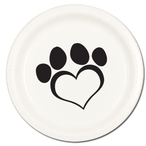 Puppy Dog Paw Prints Supplies HEART LOVE WHITE LUNCHEON DINNER PLATES