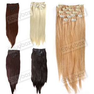 Clip-in-Hair-Extension-Womens-Full-Head-22-Long-Straight-Black-Brown-Blonde