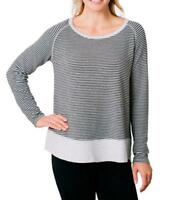 Kersh Women's French Terry Boat-neck Relaxed Fit Pullover Top Grey Stripe L