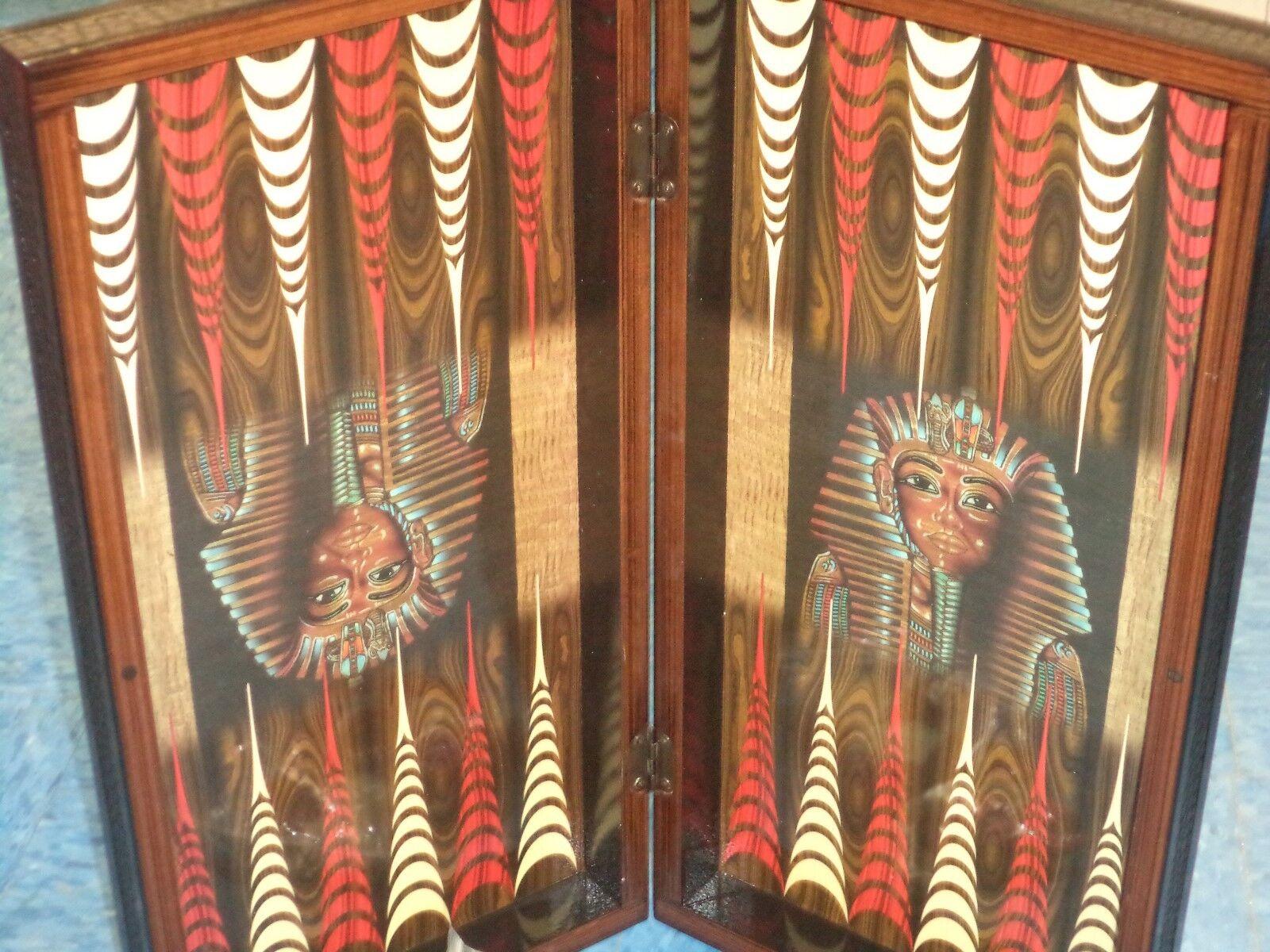 King Tut Egyptian Decoupage Wood Folding Backgammon Set 20  Board New