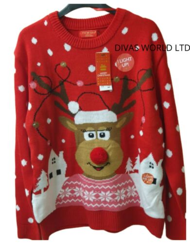 Women Christmas Jumper LED Flashing Light Women Cardigan Size UK S//M Brand New