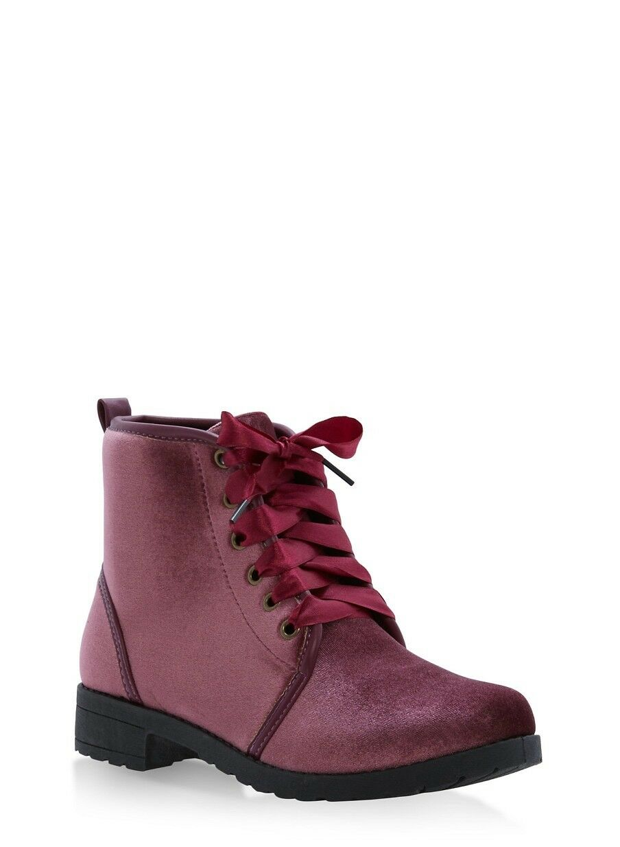 New Ribbon Lace Up Piped Women's Booties Size 8 Mauve color