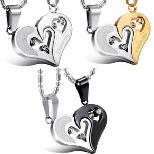 NEW-I-LOVE-YOU-MATCH-HEART-COUPLE-PENDANT-STAINLESS-STEEL-NECKLACE