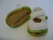 Hand Knitted Baby Booties - Green Mix on Cream - 0-3 Months - BNWT