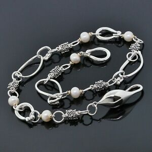 Michael-Dawkins-Sterling-Silver-amp-14K-Yellow-Gold-Pearl-Chain-Link-Necklace