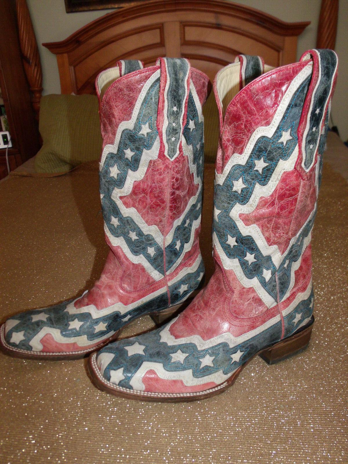 Corral Men's rot Weiß Weiß Weiß & Blau Flag A1324 Square Toe Leather Western Stiefel 10.0EE 1c40e2
