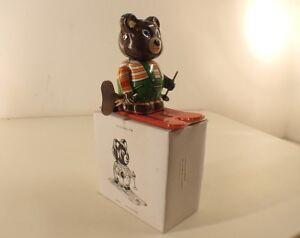 Adaptable Ms 293 Chine Clockwork Ours En Skis Tôle Moteur Clé Tin Toy Mint In Box 10 Cm