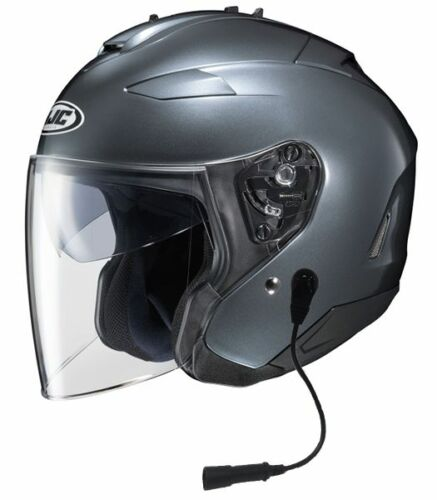 HJC Open Face Helmet Anthracite with Headset Harley Davidson, GoldWing or BMW