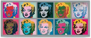 Poster-Kunstdruck-Ten-Marilyns-1967-Andy-Warhol-Pop-Art-Monroe-Bild-Deko-134x56