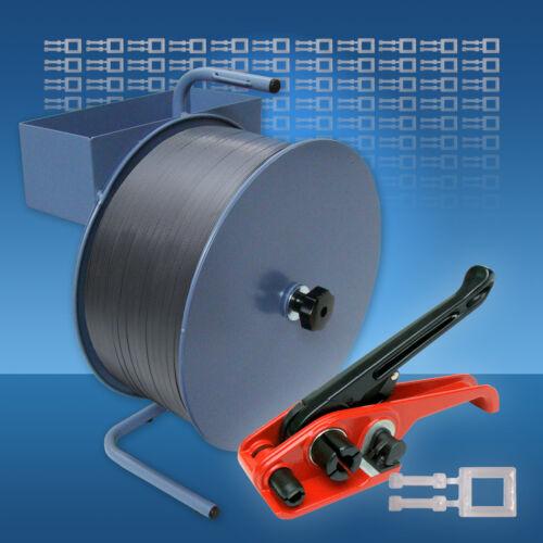 Spanngerät Abrollgerät PP Umreifungsset 16 mm 1000 Klammern Umreifungsband