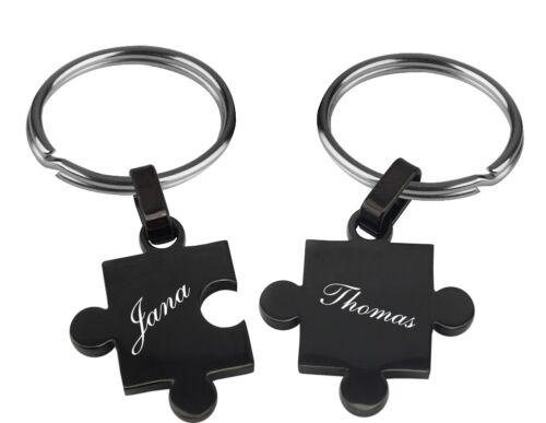 Ein sehr schöner Schlüsselanhänger Schwarz Partner Puzzle mit Gravur 2016 2