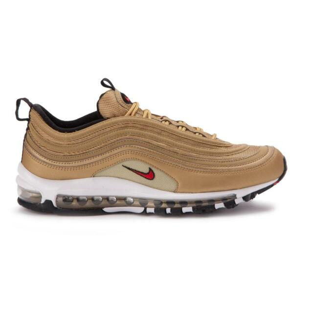 Nike Air Max 97 OG QS Trainers In Metallic Gold Varsity Red