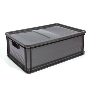 45l lagerkiste euro box stapelbox transportbox mit deckel. Black Bedroom Furniture Sets. Home Design Ideas