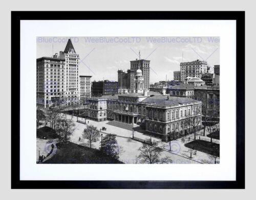 CITY HALL NEW YORK 1900 VINTAGE HISTORY OLD BW BLACK FRAMED ART PRINT B12X2430