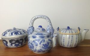 Collection-of-3-Blue-amp-White-Chinese-Ceramics-Pot-amp-Tea-Pots-Lovely-Set-A1-Cond