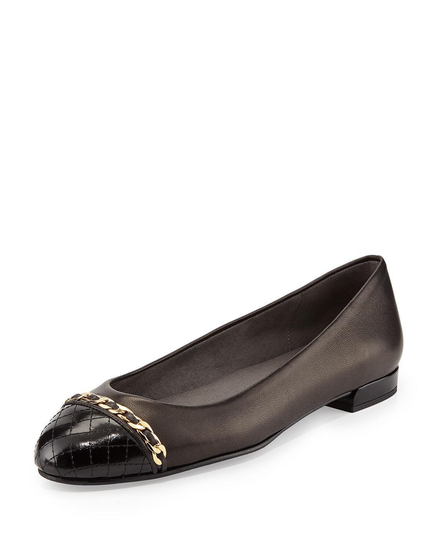 425 Stuart Weitzman Quilted Cap Toe Chain Ballet Flats - Legacy 9.5- 39.5