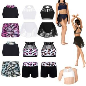 Girls Gymnastics Ballet Dance Outfits Crop Top Bottoms Skirt Two-Pieces Costume