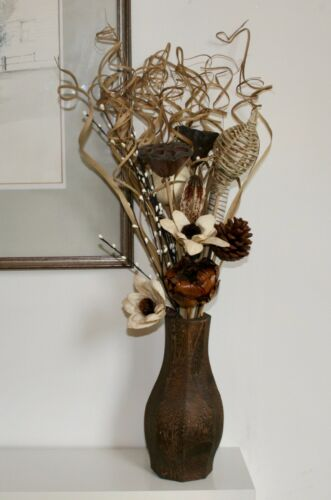 libre en forme de bois vase cadeau mariages Natural crème Posy Bouquet 60 cm Tall