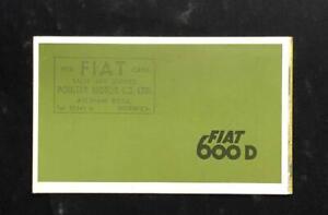 FIAT 600 D SALOON CONVERTIBLE MULTIPLA 1962 - 64  MOTOR CAR SALES BROCHURE UK