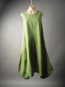 0a3f12d3850 Olive Green Linen Cotton Quirky Lagenlook Mori Girl Tulip Hem 183 mv ...