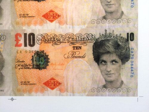 FULL SHEET OF BANKSY DI FACED TENNER £10 TEN POUND PRINCESS DIANA NOTE
