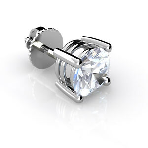 Image Is Loading Mens Real Diamond Stud Earring 18ct White Gold