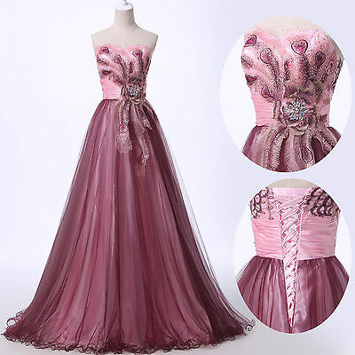 Peacock Masquerade Long Prom Dresses Wedding Bridesmaid Evening PARTY Ball Gown