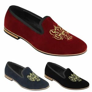 Mens Faux Suede Leather Gold Embroidered Floral Crest Logo Slip On Loafers Dress Shoes