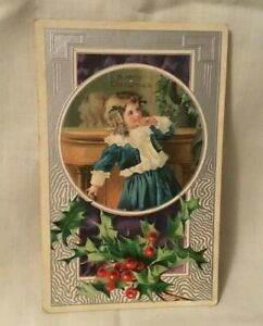 Antique-Embossed-Christmas-Postcard-A-MERRY-CHRISTMAS-Boy-and-Holly-and-Berries