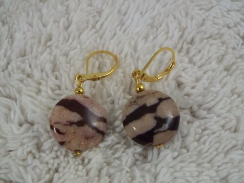 C72 Tan Brown Stone Bead Pierced Earrings