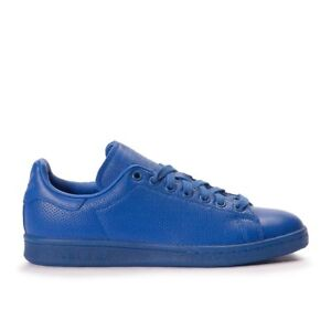 online store 4a330 f0a80 Image is loading S80246-Adidas-Men-Blue-Leather-Adicolor-Originals-Stan-