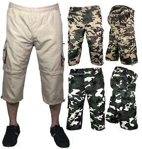 d55e30dc01 Mens 3/4 Long Pants 2 in 1 Shorts Elasticated Waist Cargo Combat ...