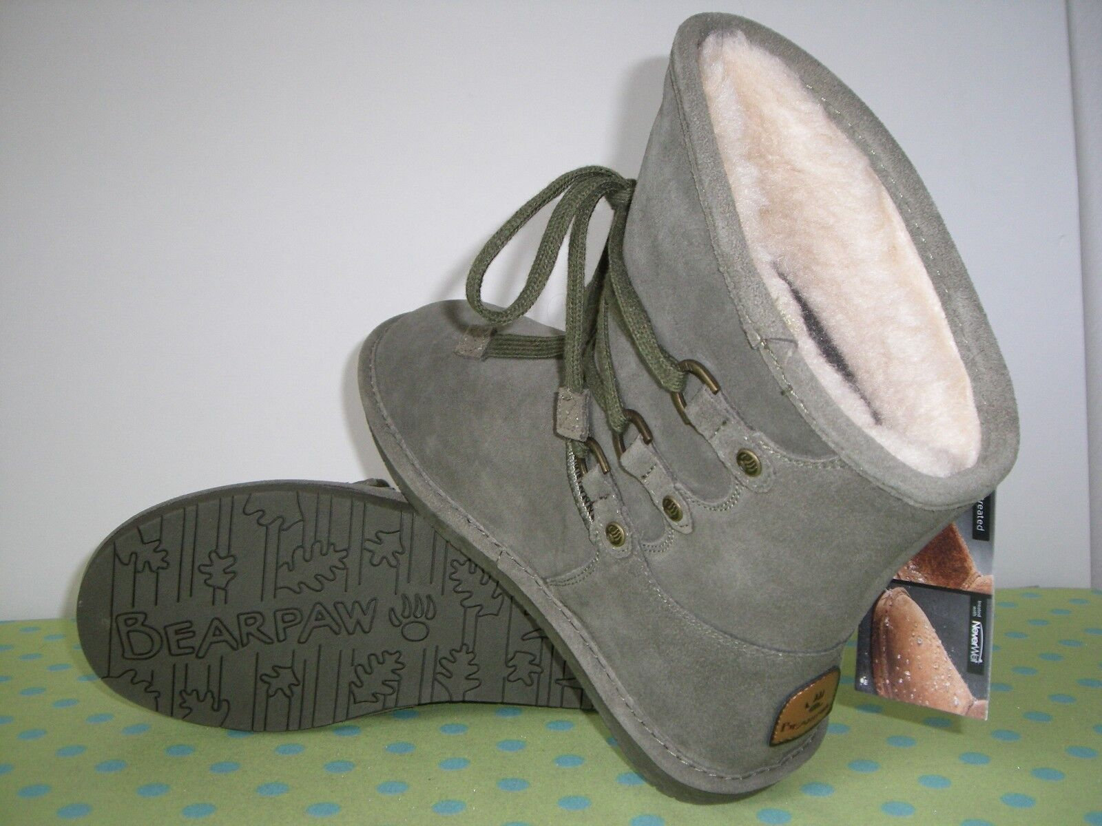 NEW  COLBY   Bearpaw Bearpaw Bearpaw   NEVERWET  OLIVE GREEN  Suede   Boots       7 5f3c3b