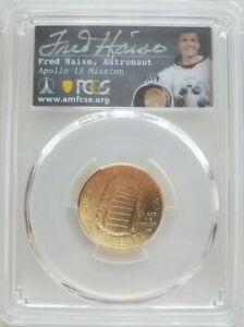 2019 W $5 GOLD APOLLO 11 50TH ANNIVERSARY PCGS MS70 1ST DAY OF ISSUE FRED HAISE