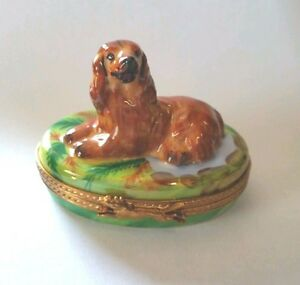 Arquie pierre arquie porcelain limoges irish setter dog on green oval