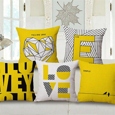 Yellow Simple Style Love Cushion Cover Sofa Auto Bed Car Decorative Pillow Case