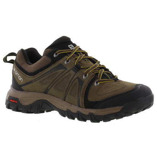 Salomon Evasion Mens Brown Leather Walking Trainers Shoes Size 8-11