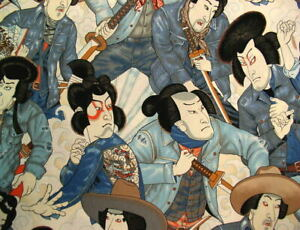 Alexander Henry Nicole's Prints Denim Samurai 8872-Natural Cotton Fabric BTY