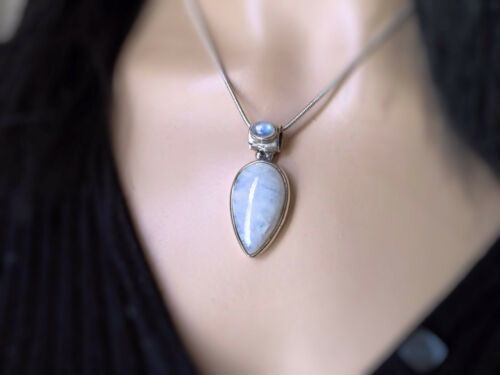 Free Chain Lovely Double Rainbow Moonstone 925 Sterling Silver Necklace Pendant