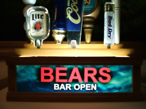 """lighted 7 beer tap handle stand """"BEARS"""" BAR OPEN sign"""
