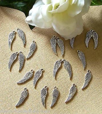 15 Flügel, 17 x 5 mm, silberfarben, Schwingen, Metallanhänger für Bettelarmband
