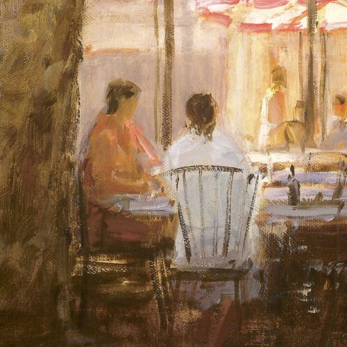 """36/""""x24/"""" SUMMER PROVENCE by GEORGE BATES SUNNY DAY TERRACE TABLE UMBRELLA CANVAS"""