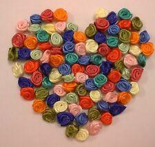 RIBBON ROSES x 100 Satin Small - Craft Wedding Baby Bunting Sew - multicoloured